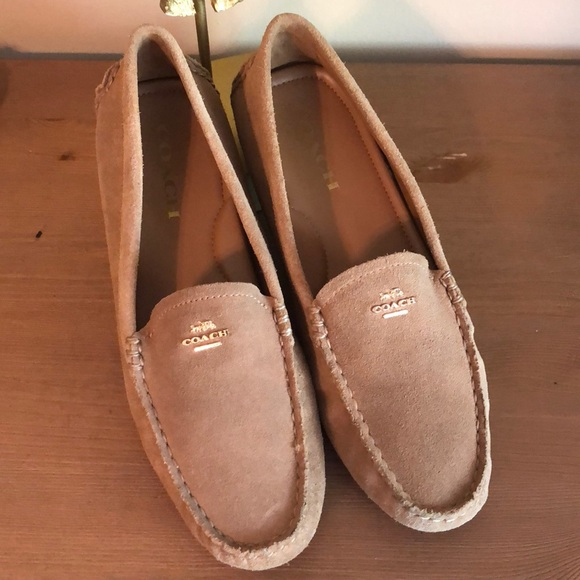 e5af9361acc Coach Shoes - Coach Camel Amber Suede Driving Loafer Flats
